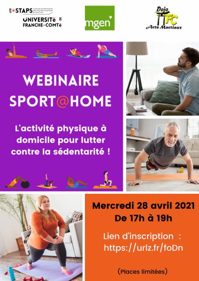 Webinaire Sport@home : l'activité physique à domicile pour lutter contre la sédentarité