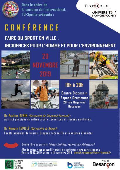 Conférence Faire du sport en ville : incidences pour l'homme et pour l'environnement