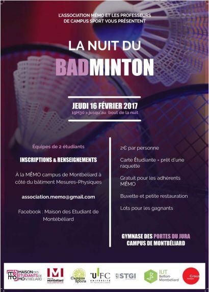 Nuit du badminton, à Montbéliard avec La MéMO le 16 février 2017