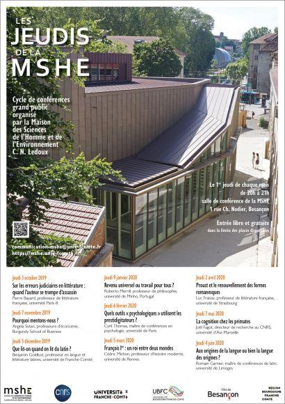 Affiche programme des Jeudis de la MSHE 2019-20