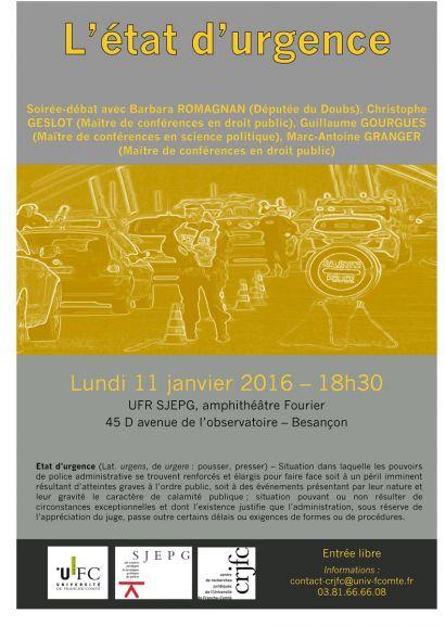 Affiche de la conférence-débat sur l'état d'urgence