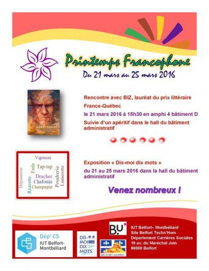 Le printemps est francophone au département Carrières Sociales de l'IUT de Belfort-Montbéliard du 21 au 25 mars 2016