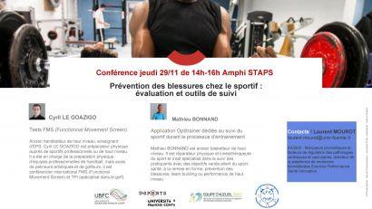 Conférence Prévention des blessures chez le sportif