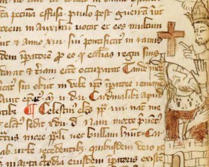 Textes anciens avec motif évoquant la religion chrétienne