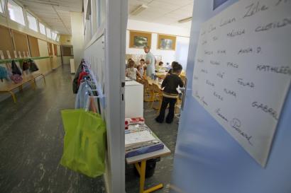 Porte d'une salle de classe en maternelle