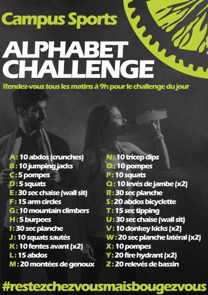 Affiche alphabet challenge Campus Sports