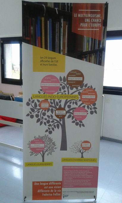 panneau d'exposition sur le multilinguisme européen