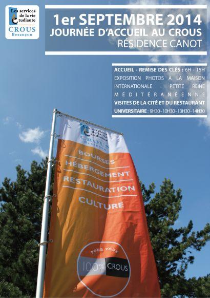 affiche de la journée d'accueil organisée par le Crous