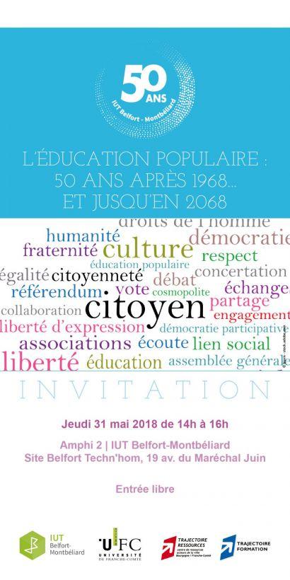 Conférence « L'éducation populaire : 50 ans après 1968… et jusqu'en 2068 »