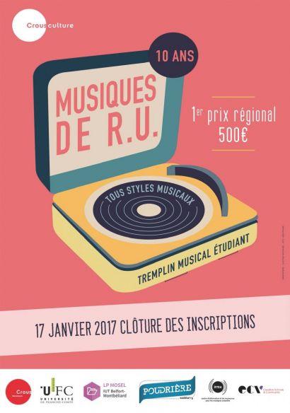 Inscrivez-vous au Tremplin Musiques de RU avant le 17 janvier 2017!