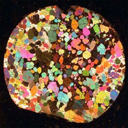 Lame mince polie (lumière polarisée-analysée) réalisée à partir d'un échantillon du forage marin