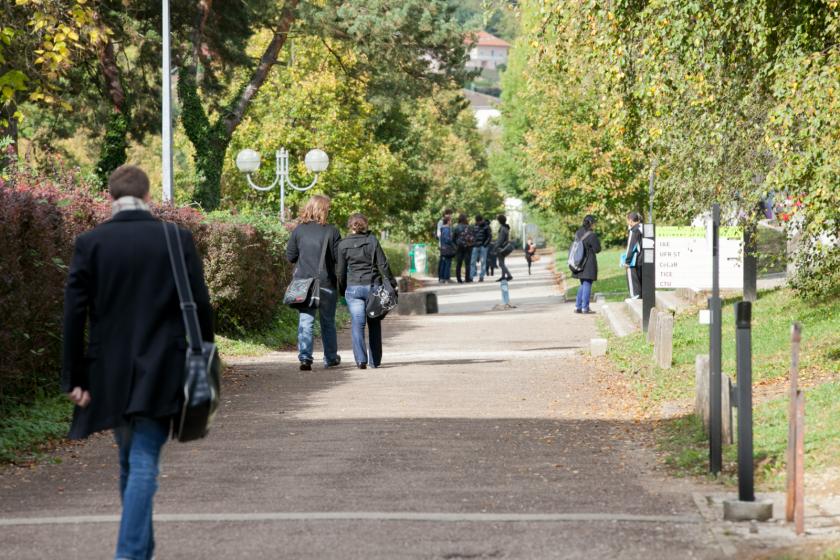 Des étudiants qui marchent sur un campus arboré