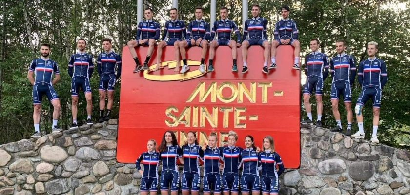 Le collectif France VTT lors des derniers Championnats du Monde au Mont Saint Anne (29 Août – 1er Septembre 2019, Québec, Canada).