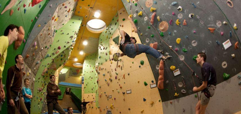 Plusieurs grimpeurs sur le mur d'escalade du gymnase de la Bouloie