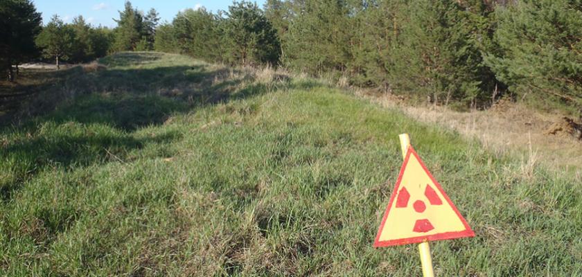 Un panneau de danger à Tchernobyl