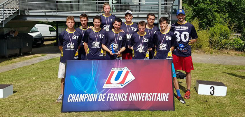 L'équipe d'ultimate, champions de France 2018