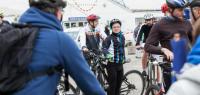 Un groupe de cyclistes.