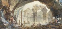 "Peinture ""Ruines d'un temple circulaire"", de Pierre-Adrien Pâris"