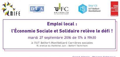 Conférence Economie sociale et solidaire le 27 septembre à l'IUT de Belfort-Montbéliard
