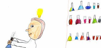 Dessin d'enfant représentant un chercheur