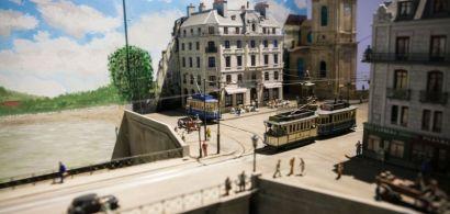 Une maquette du Pont Battant à Besançon avec l'ancien tramway