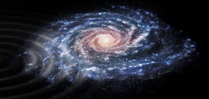 Vue d'artiste d'une perturbation des vitesses des étoiles dans notre galaxie, la Voie lactée, qui a été mise en évidence par la mission spatiale Gaia de l'ESA.