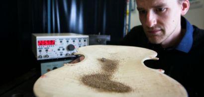 Un chercheur observe un bois de violon où des grains de sable vibrent.