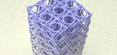 Une image de synthèse représentant une sorte de tour faite de cubes et de cylindres en torsion.