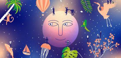 lune souriante, plantes, animaux et personnes