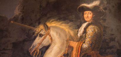 Tableau représentant Louis XIV sur un cheval.
