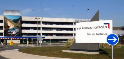 Vue extérieure du site PSa de Sochaux avec une pancarte de signalisation.