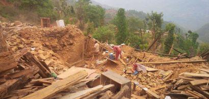 Un terrain au Nepal après le tremblement de terre en 2015