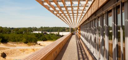 Photo d'un bâtiment avec beaucoup de bois.