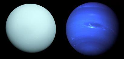 photomontage montrant Uranus et Neptune photographiées lors de la mission de Voyager 2