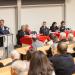 Jacques Bahi, à la tribune, à ses côtés Jean-Louis Fousseret et Marie-Guite Duffay ainsi que la directrice du CHRU et une représentante de l'ARS