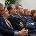 Ghislain Montavon, Jacques Bahi, Jean-François Chanet, Jean-pierre Chevènement, Nicolas Chaillet et Damien Meslot assis regardant dans la même direction.